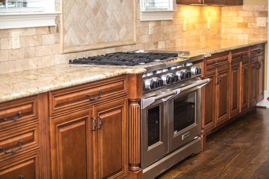 Light granite kitchen worktop