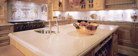 Cream kitchen worktops