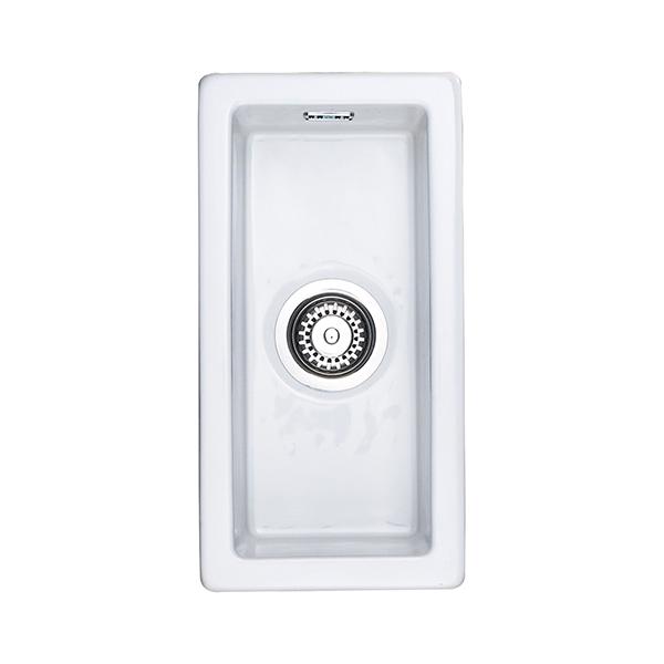 Rangemaster Rustique 0.5 Bowl Ceramic Undermount Sink - White In ...
