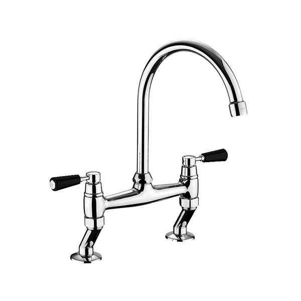 Rangemaster Traditional Belfast Bridge Chrome Tap with Black Handle