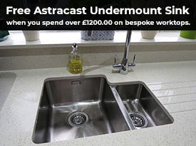 Free Astracast undermount sink when you spend over £1200 on made to measure items.