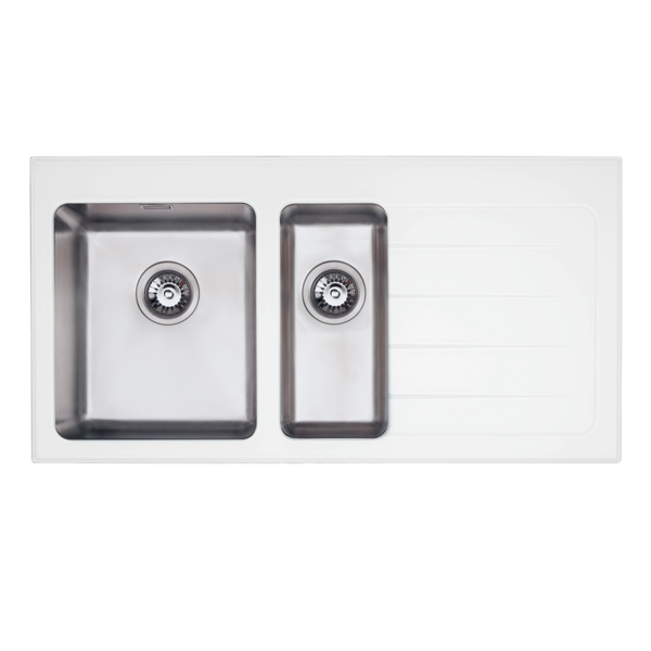 Bretton Park Pescara 1.5 Bowl White Glass Kitchen Sink - Left Handed