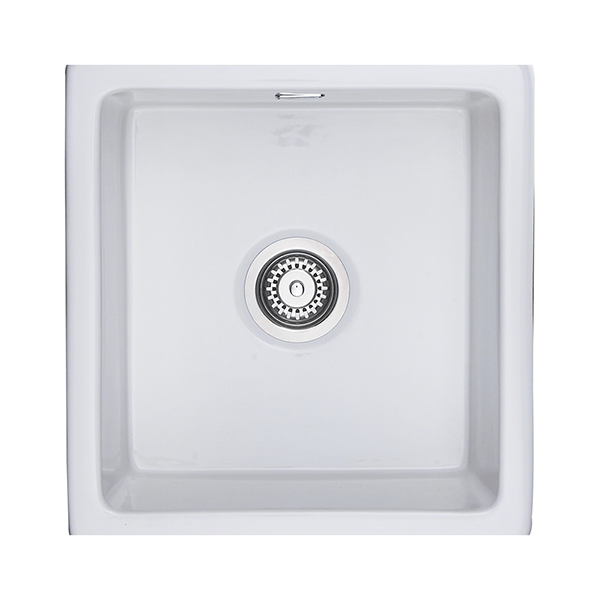 Rangemaster Rustique 1.0 Bowl Ceramic Undermount Sink - White In ...