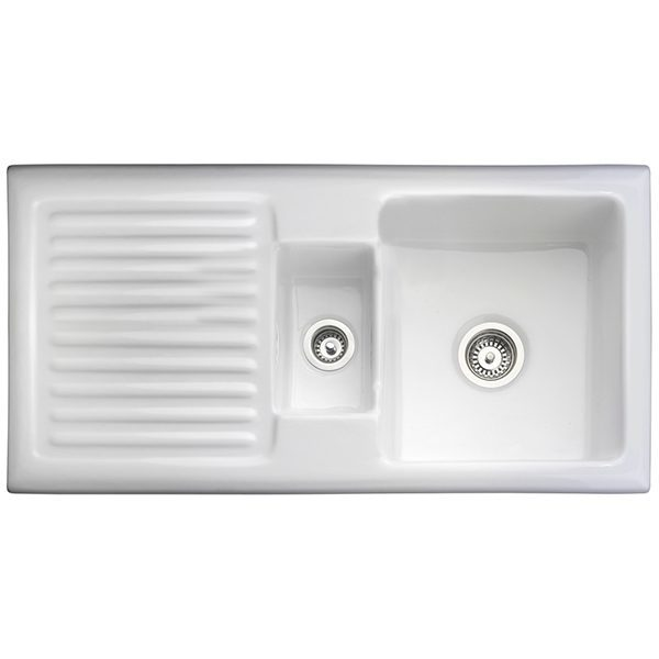 Rangemaster Rustique 1.5 Bowl Ceramic Sink - White
