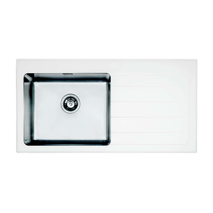 Bretton Park Santerno 1.0 Bowl White Glass Kitchen Sink - Left Handed