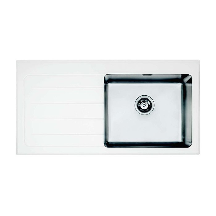 Bretton Park Santerno 1.0 Bowl White Glass Kitchen Sink - Right Handed
