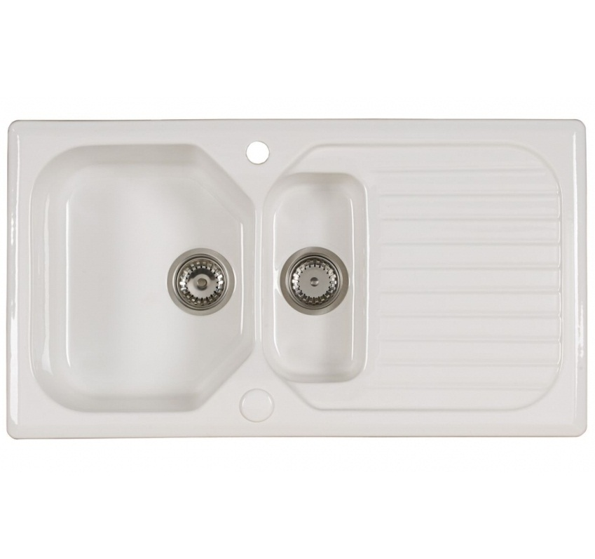 Bretton Park Sienna Traditional 1.5 Bowl Gloss White Ceramic Kitchen Sink