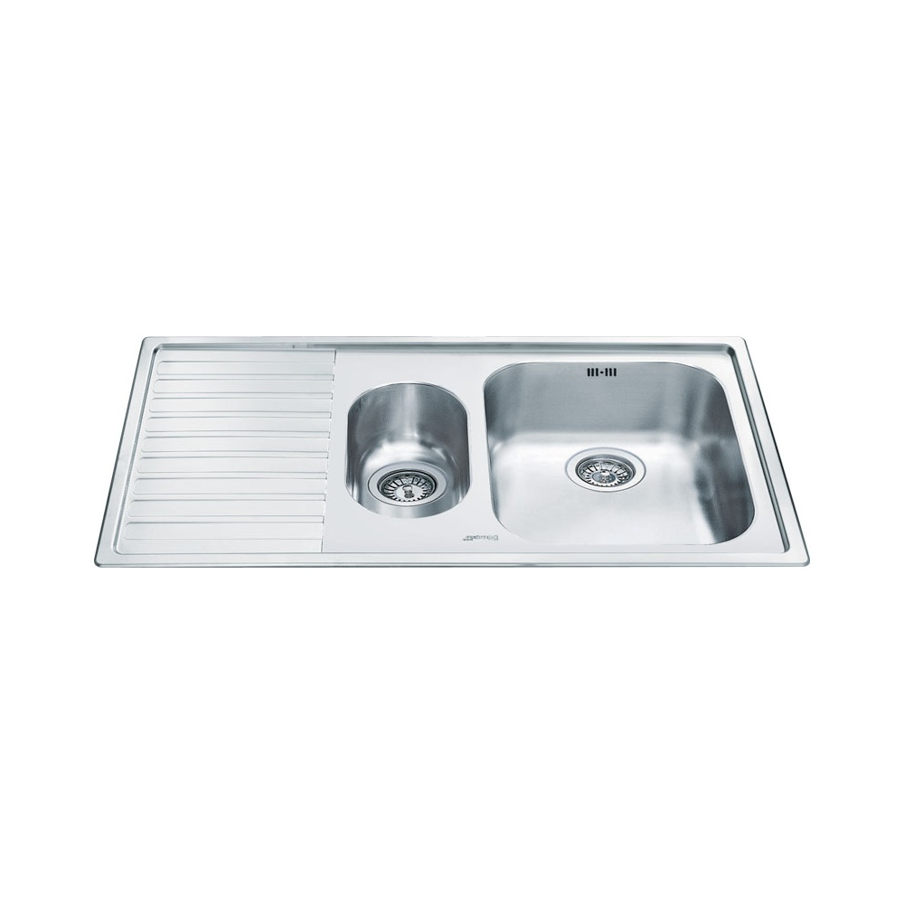 Smeg Alba 1.5 Bowl Stainless Steel Kitchen Sink - Left Handed
