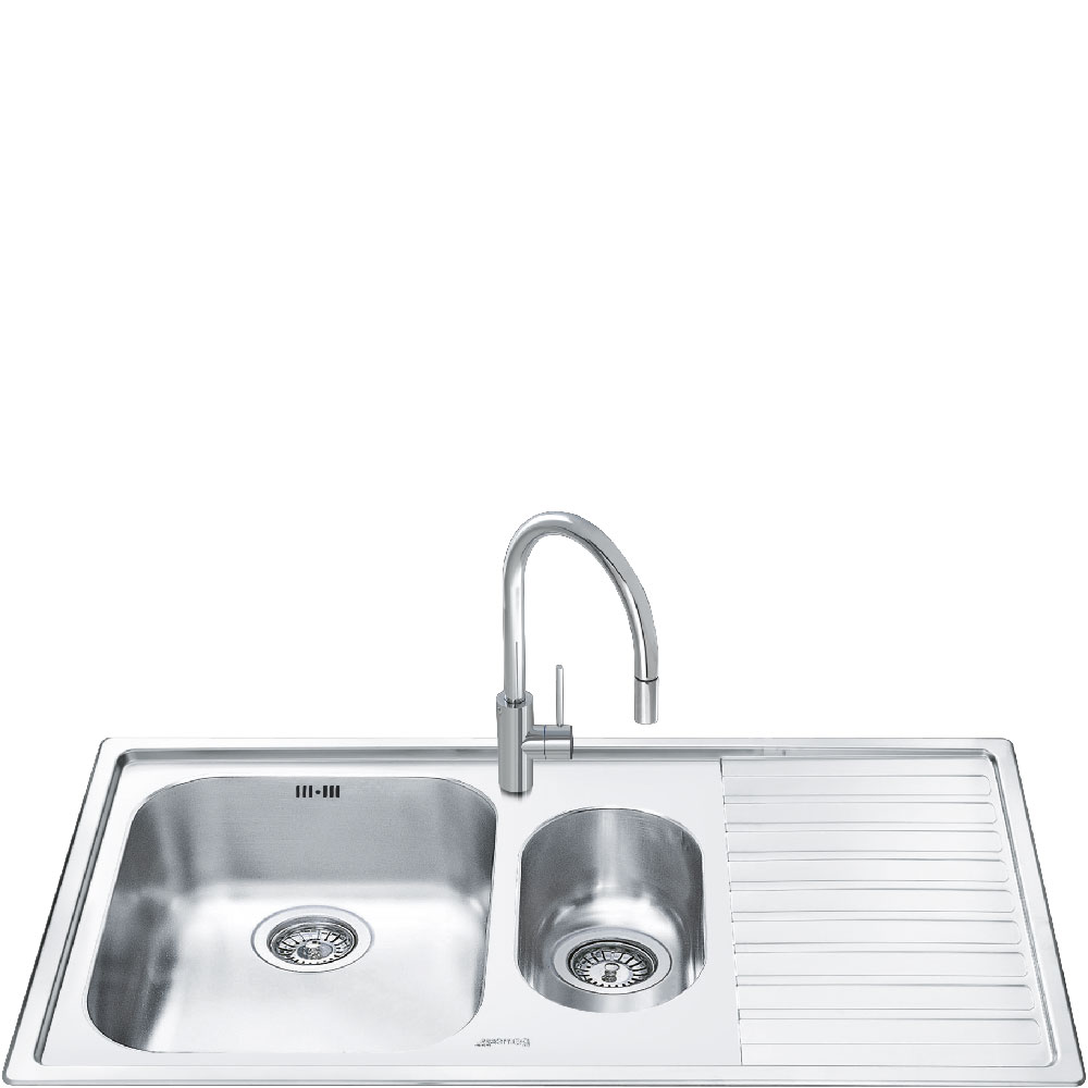 Smeg Alba 1.5 Bowl Stainless Steel Kitchen Sink - Right Handed