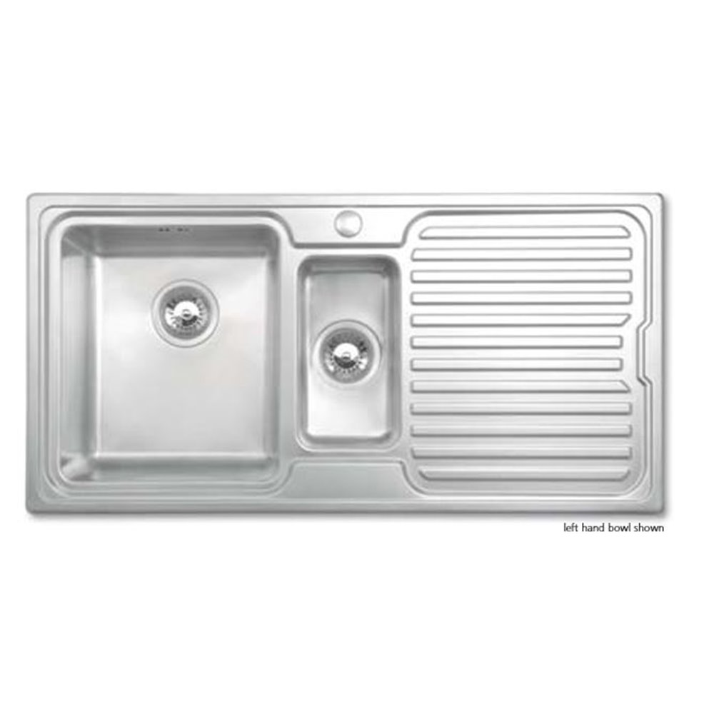 Bretton Park Avon 1.5 Bowl Stainless Steel Kitchen Sink - Right Handed In  Brushed Finish