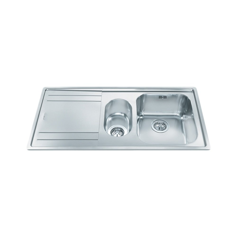 Smeg Rigae 1.5 Bowl Stainless Steel Kitchen Sink - Left Handed