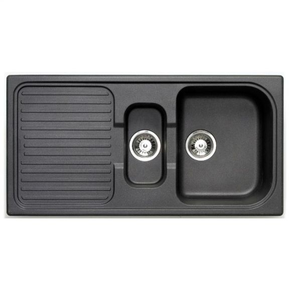 Bretton Park Rio 1.0 Bowl Granite Kitchen Sink - Volcano Black