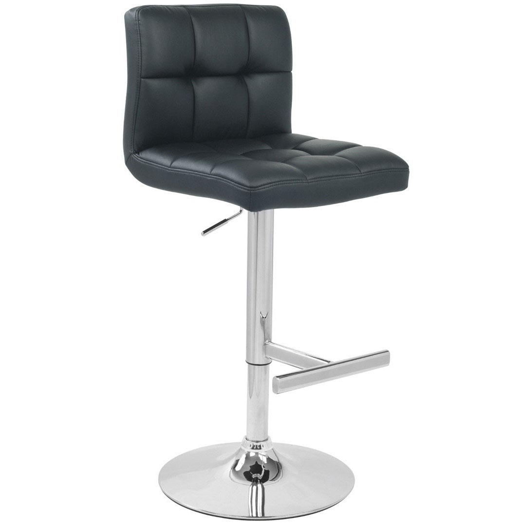 Allegro Leather Bar Stool - Black Product Image
