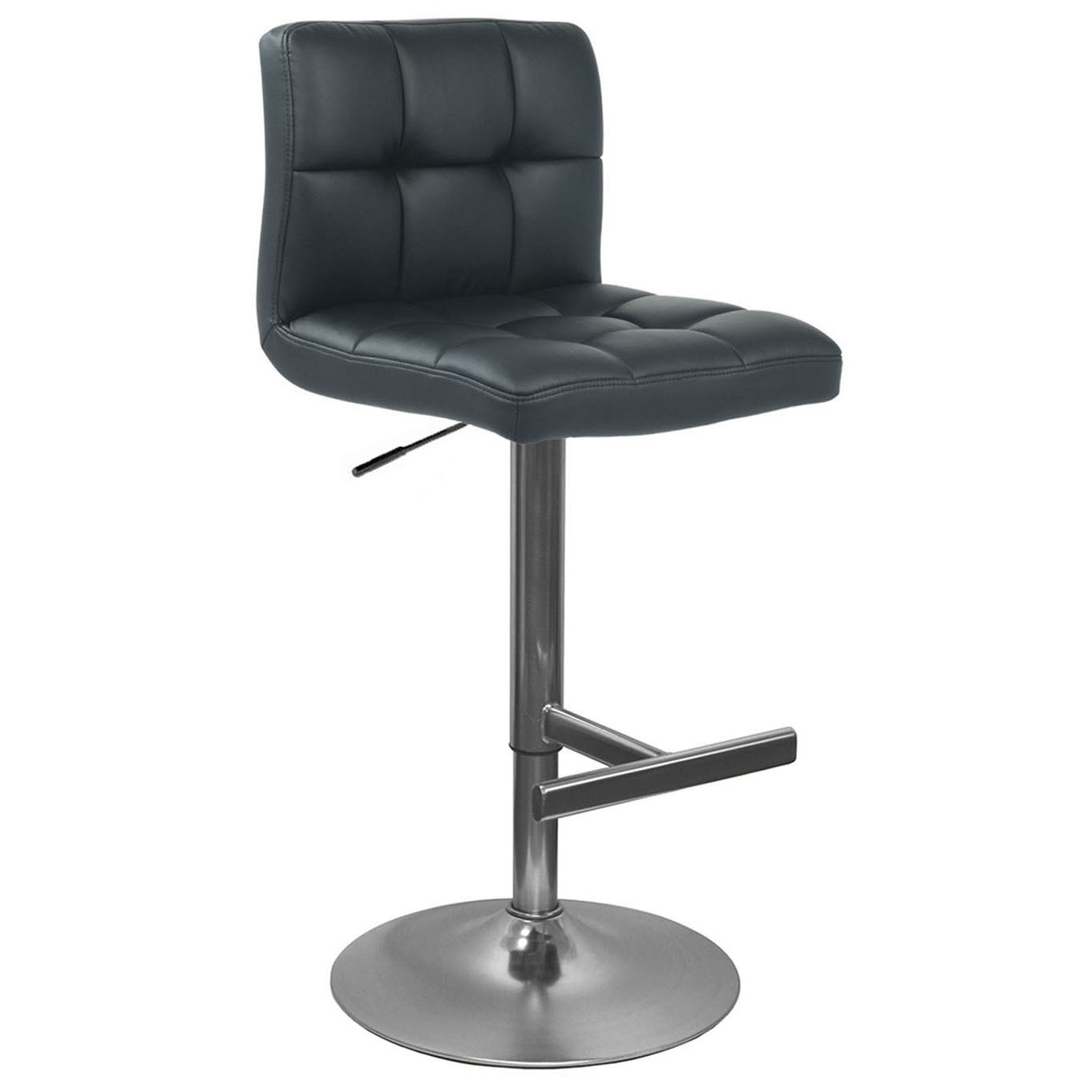 Allegro Leather Brushed Bar Stool - Black