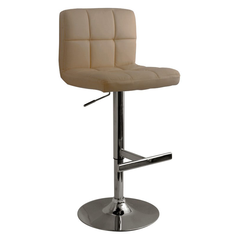 Allegro Leather Brushed Bar Stool - Cream
