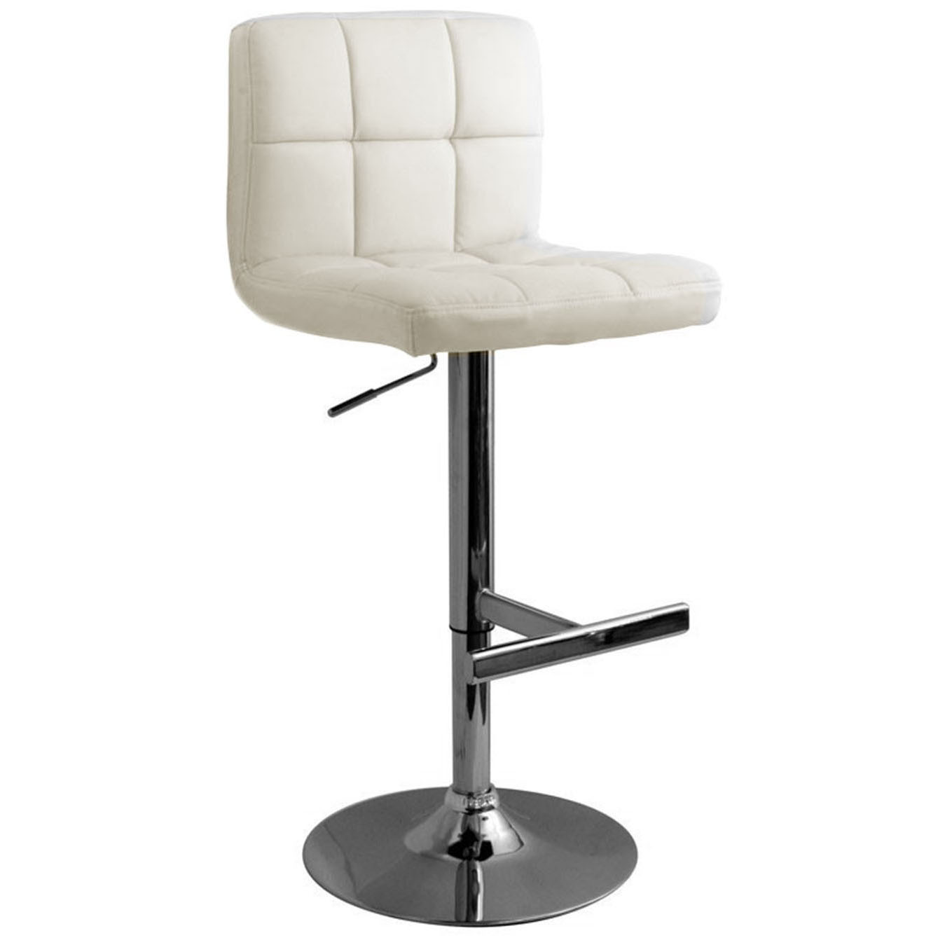 Allegro Leather Brushed Bar Stool - White