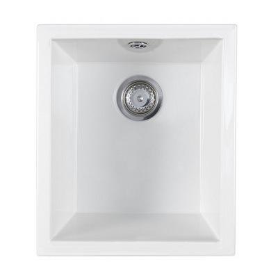 Astracast Onyx 1.0 Bowl Gloss White Ceramic Undermount Kitchen Sink ...