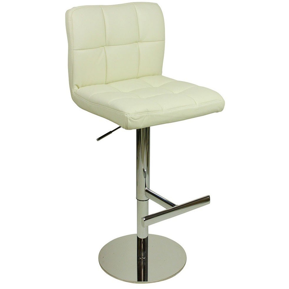 Deluxe Allegro Leather Bar Stool - White Product Image