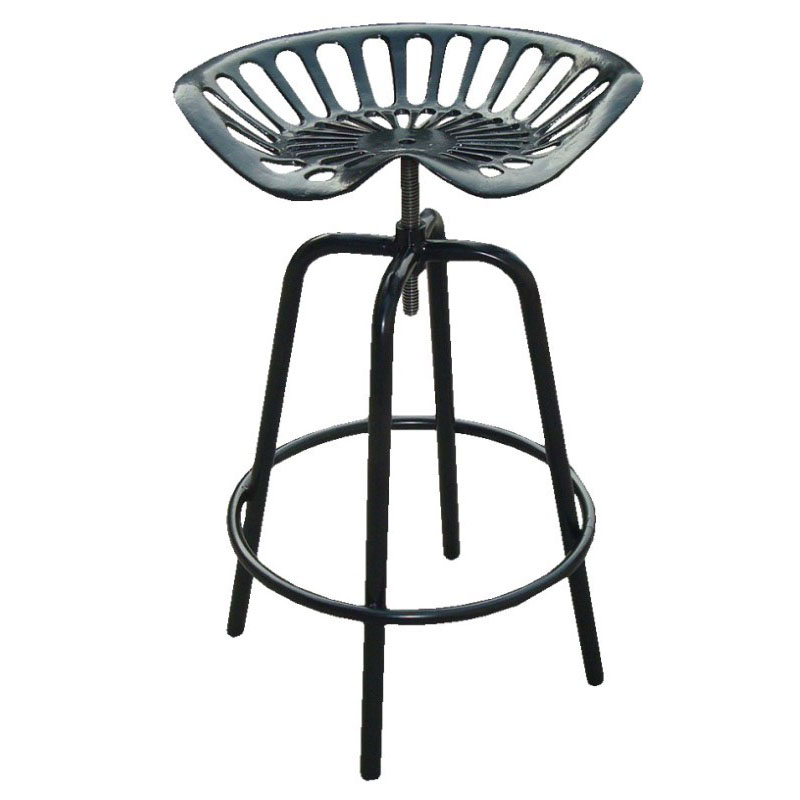 Pair of Industrial Tractor Bar Stools - Black