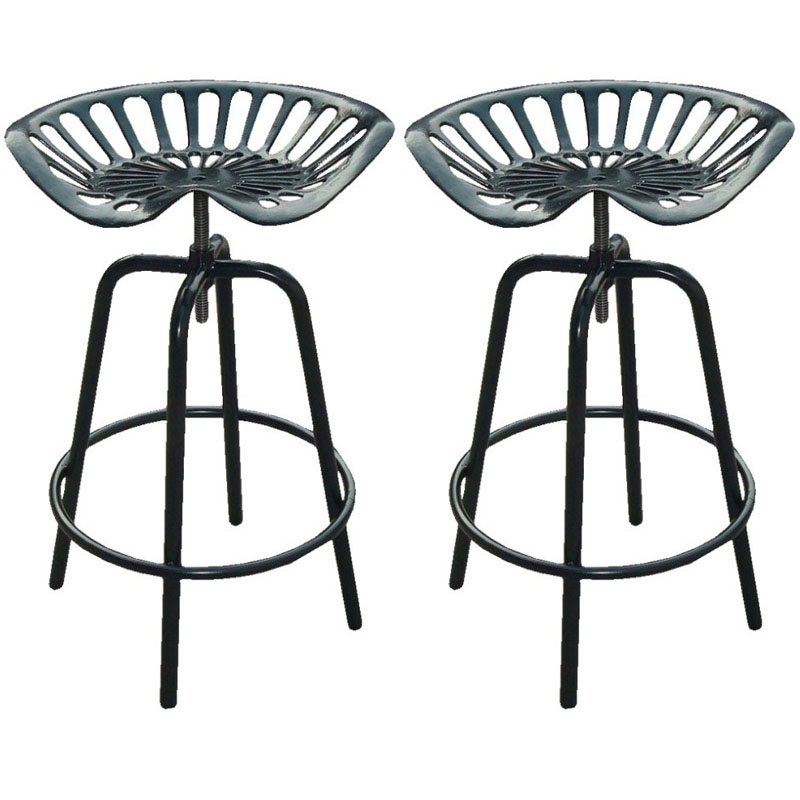 Prime Pair Of Industrial Tractor Bar Stools Black Size X 315Mm X 400Mm Gmtry Best Dining Table And Chair Ideas Images Gmtryco