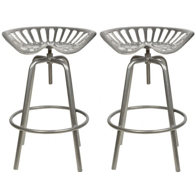 Pair of Industrial Tractor Bar Stools - Grey