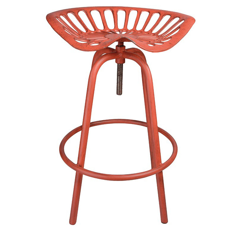 Pair of Industrial Tractor Bar Stools - Red