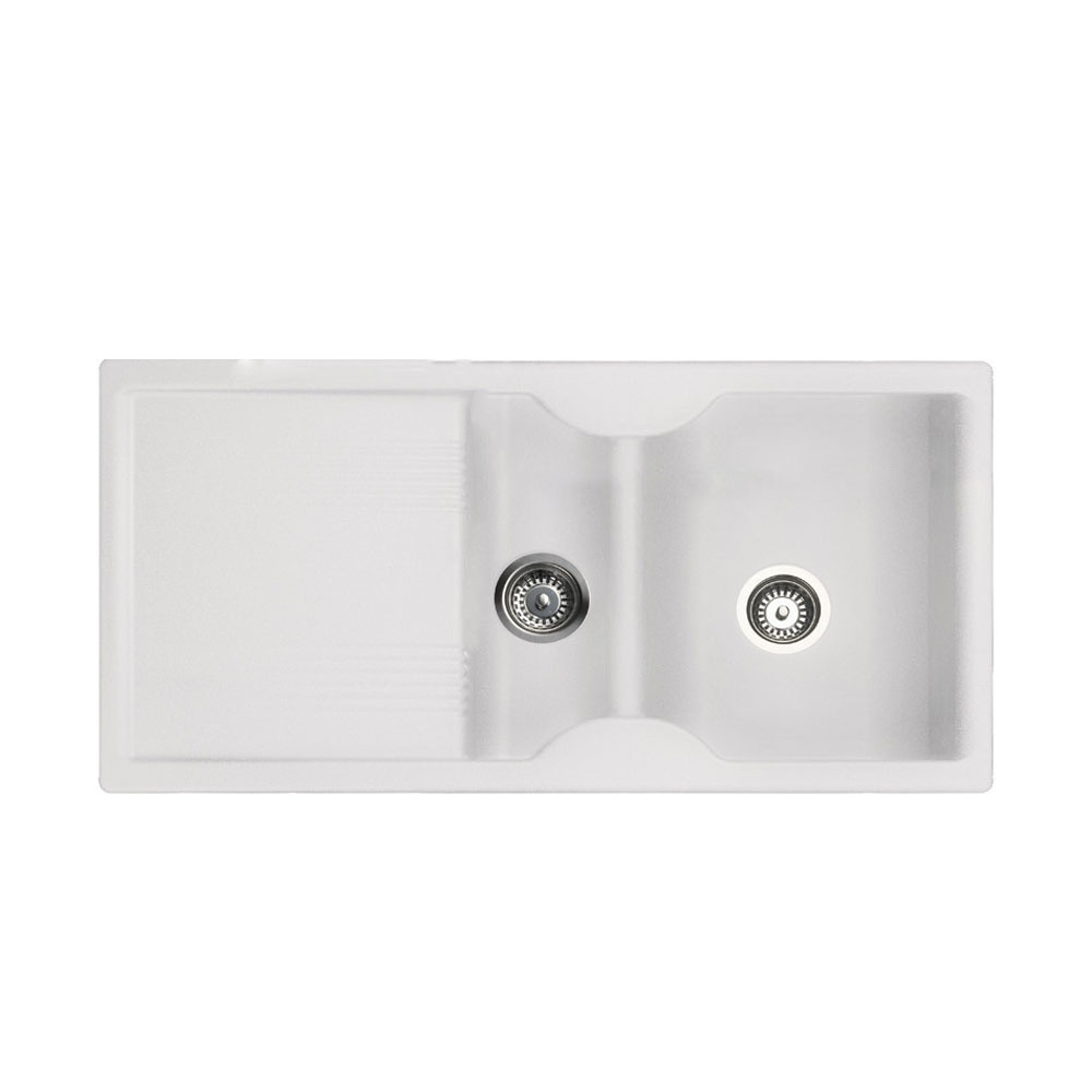 Rangemaster Lunar 1.5 Bowl Granite Kitchen Sink - Granite White