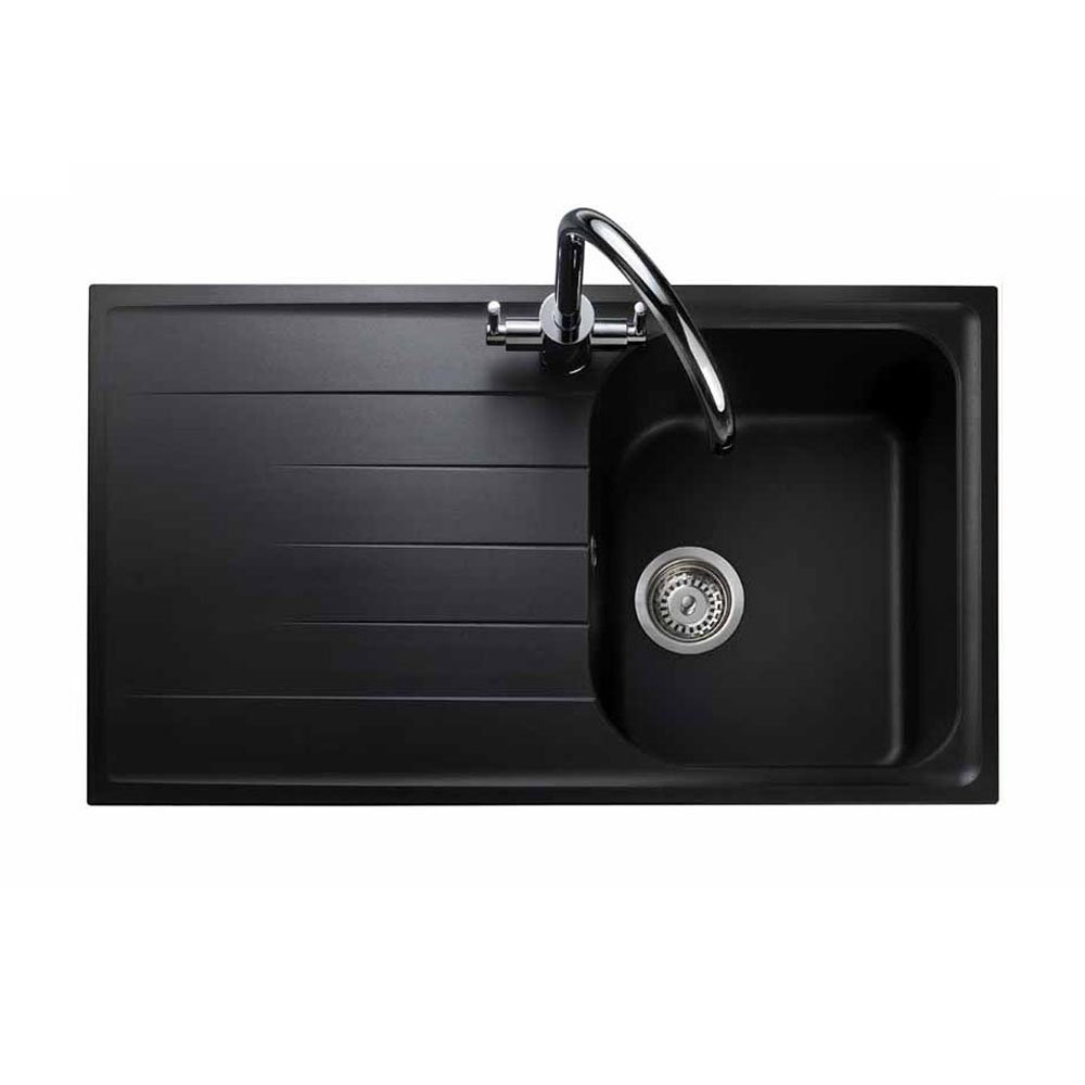 Rangemaster Amethyst 1.0 Bowl Granite Kitchen Sink - Ash Black