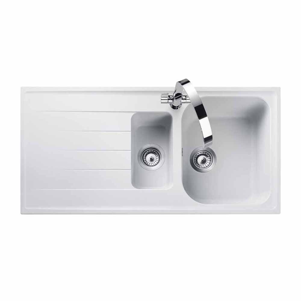 Rangemaster Amethyst 1.5 Bowl Granite Kitchen Sink - Crystal White
