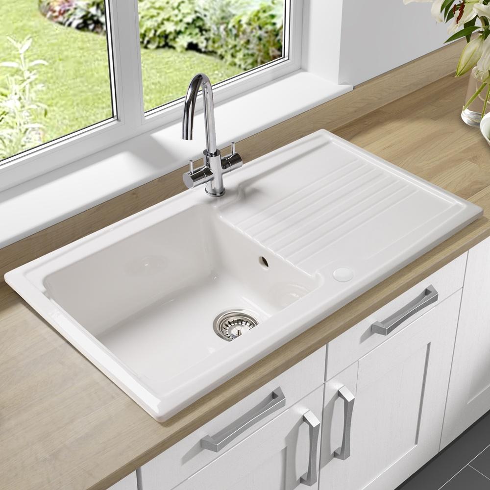 Astracast equinox 1 bowl gloss white ceramic kitchen sink