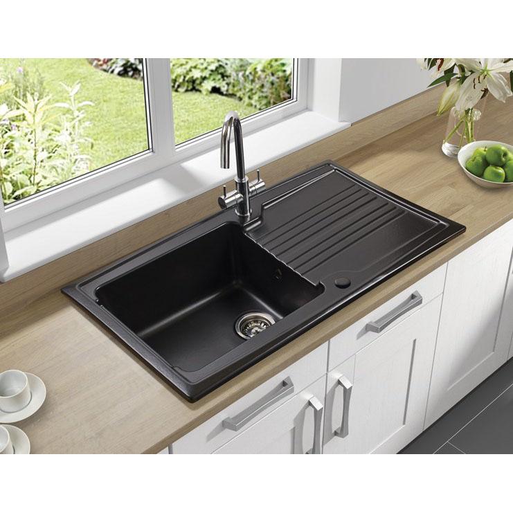 Astracast equinox 1 bowl gloss black ceramic kitchen sink in gloss astracast equinox 1 bowl gloss black ceramic kitchen sink workwithnaturefo