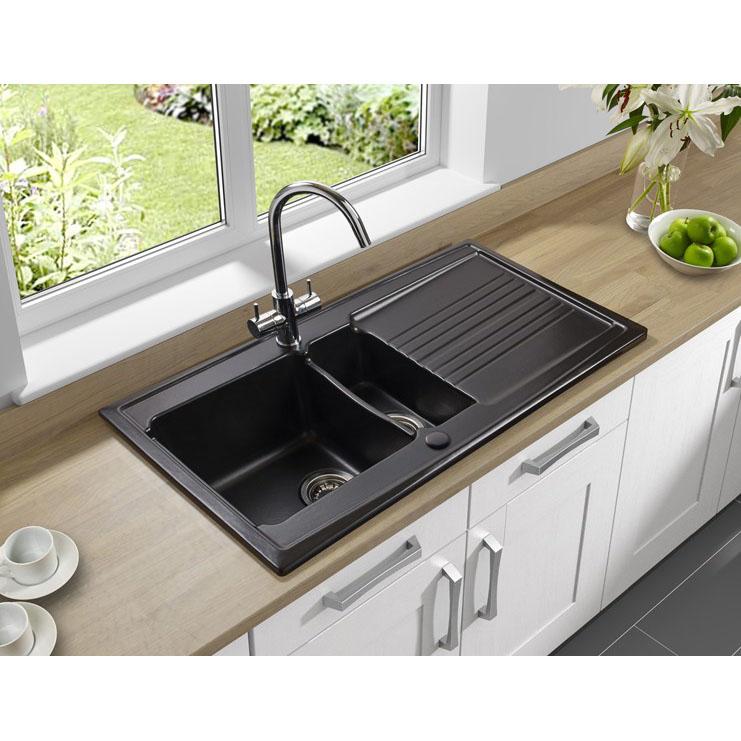 Astracast Equinox 1.5 Bowl Gloss Black Ceramic Kitchen Sink In Gloss ...