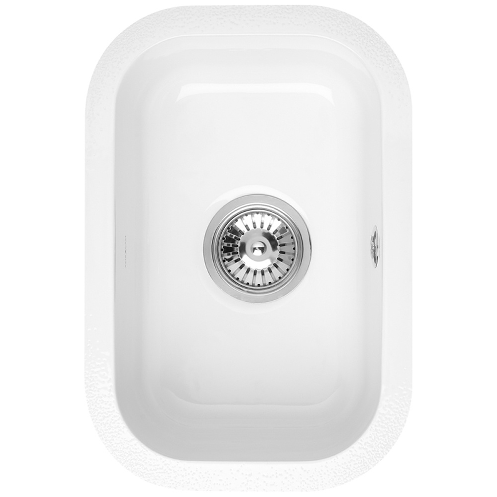 Astracast Lincoln 2540 0.5 Bowl Gloss White Ceramic Undermount ...