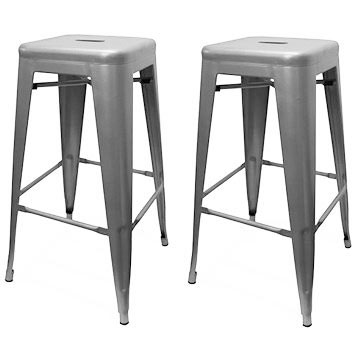 Set of 2 Oslo Bar Stools - Silver
