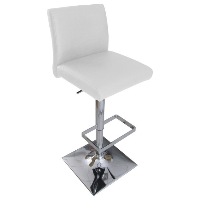 Snella Leather Bar Stool - White Product Image