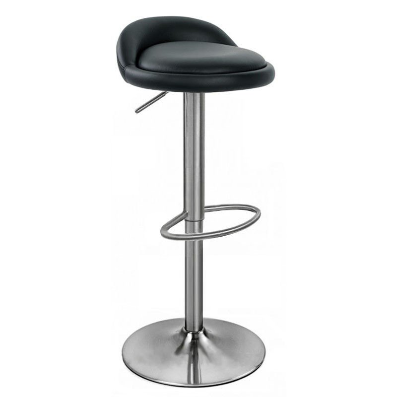 Sofia Leather Brushed Bar Stool - Black