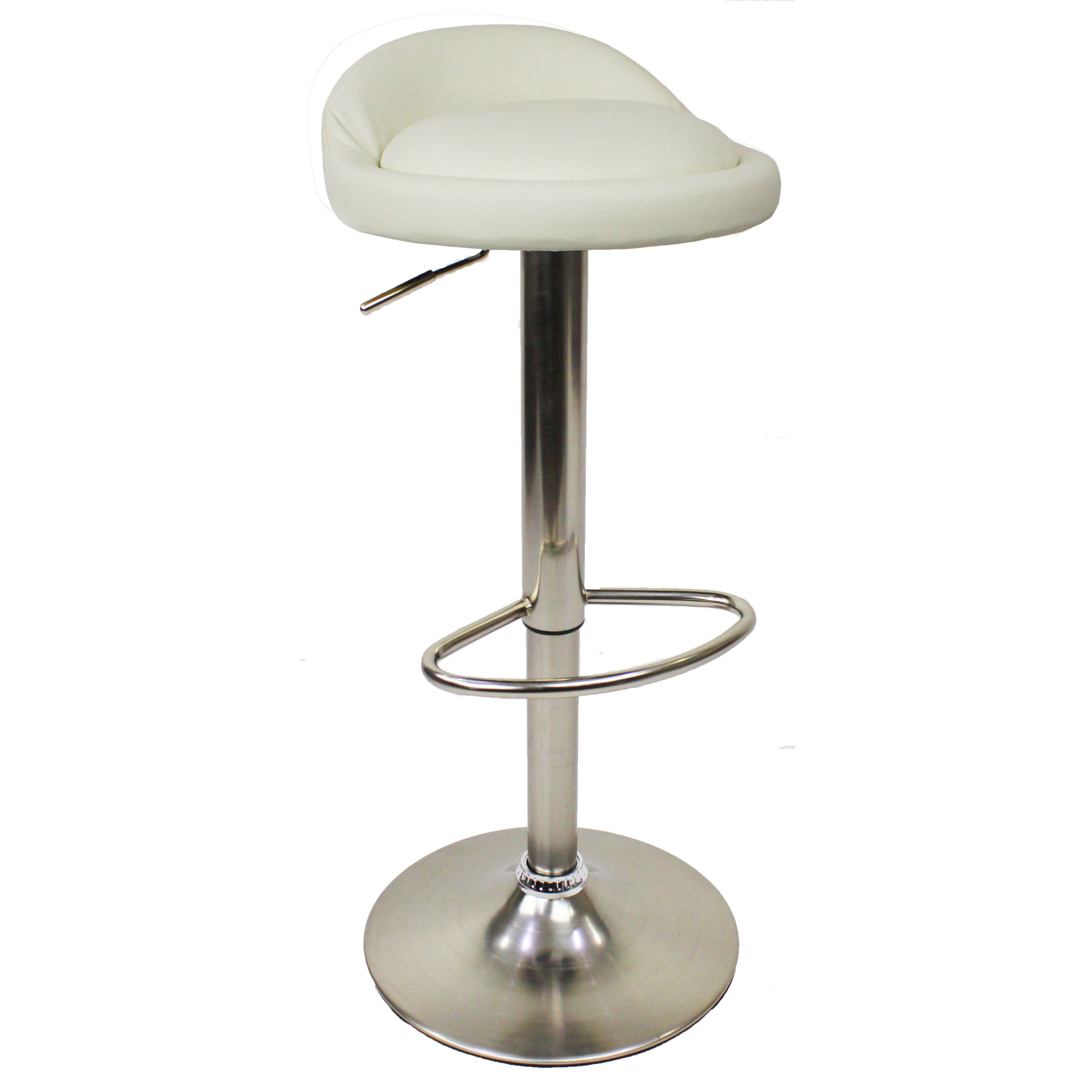 Sofia leather brushed bar stool white size x 380mm x 380mm for White breakfast bar stools