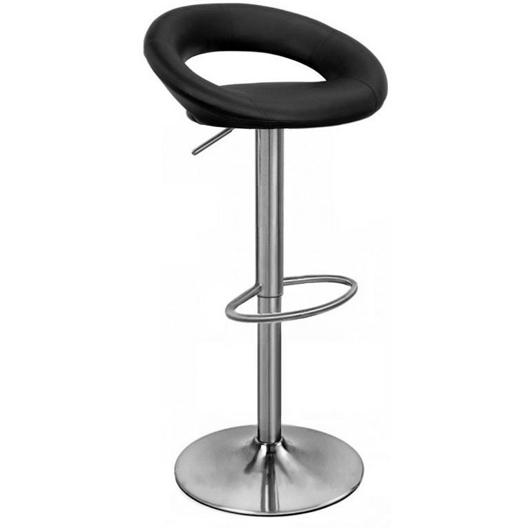 Sorrento Leather Brushed Bar Stool - Black