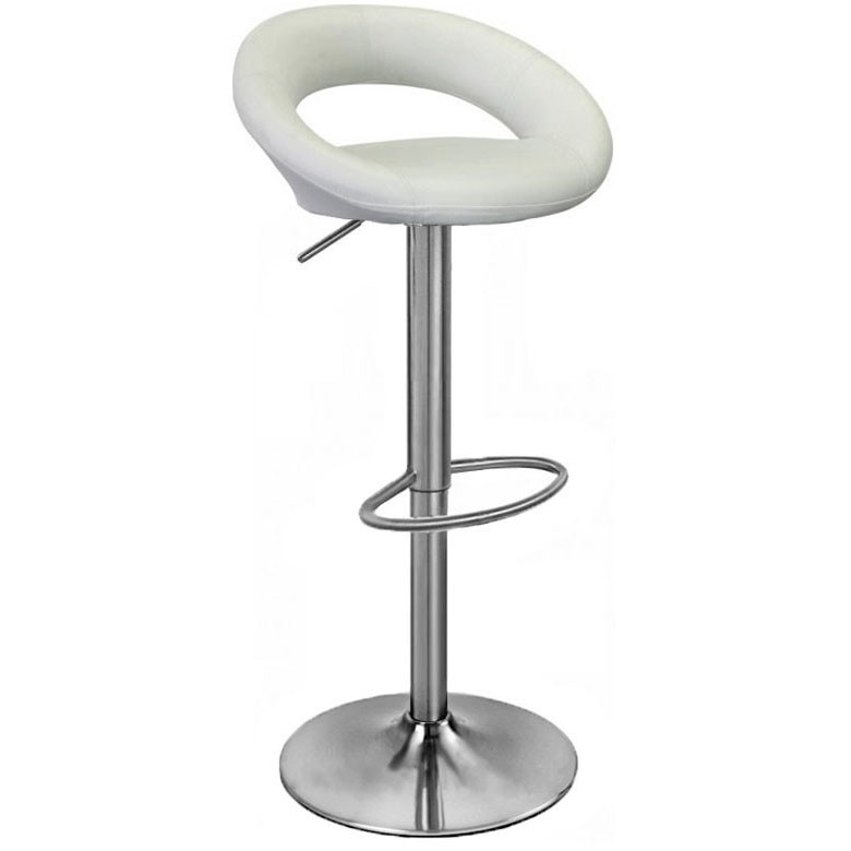 Sorrento Leather Brushed Bar Stool - White Product Image