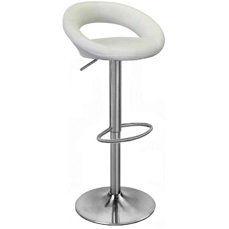 Sorrento Leather Brushed Bar Stool - White