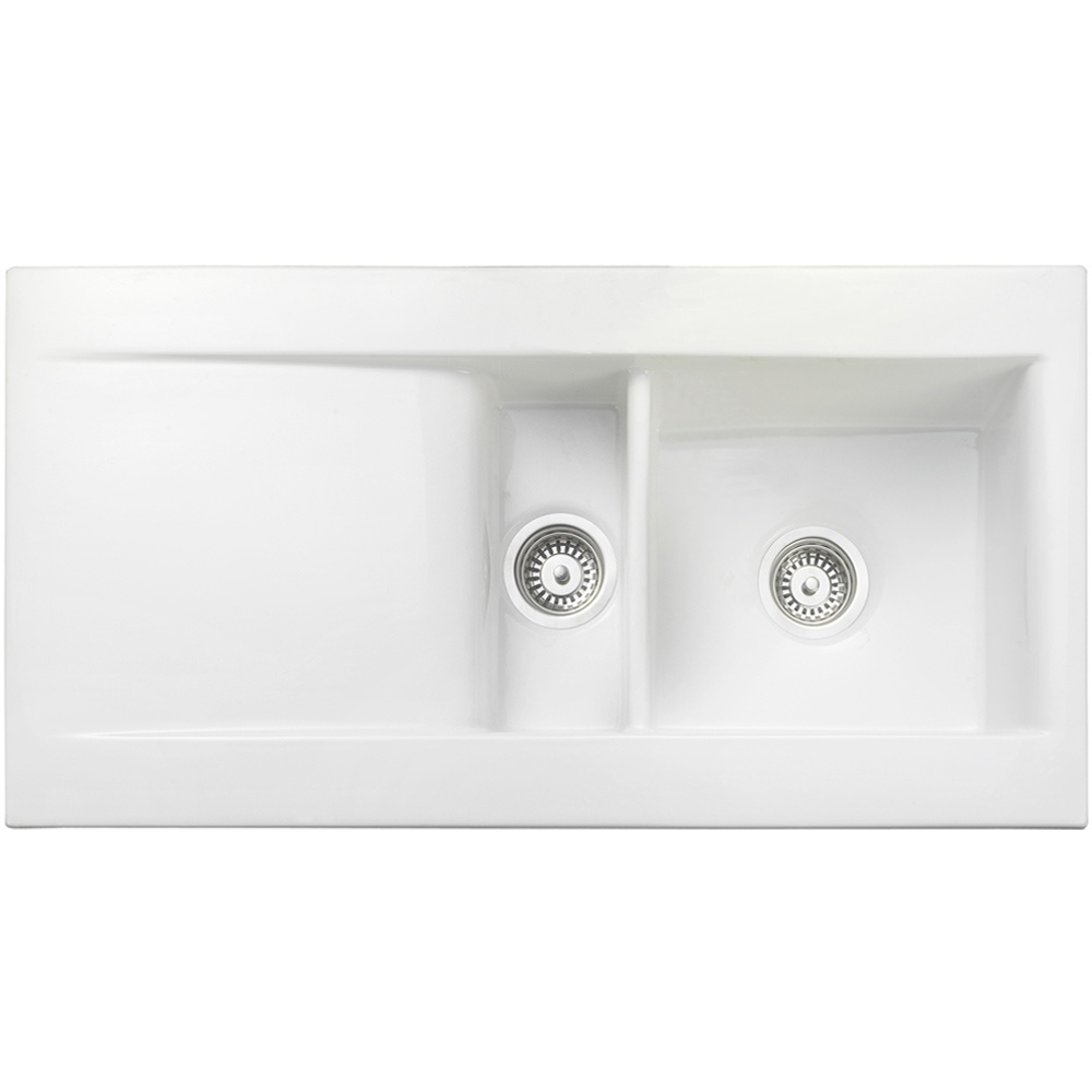Rangemaster Nevada 1.5 Bowl Ceramic Kitchen Sink - White