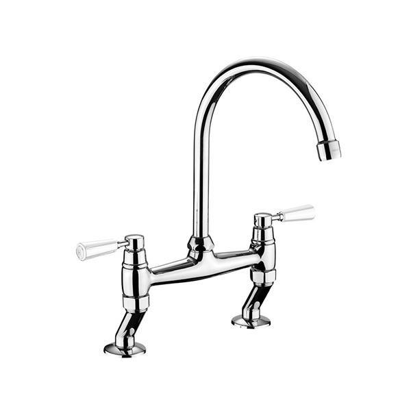 Rangemaster Traditional Belfast Bridge Chrome Tap with White Handle