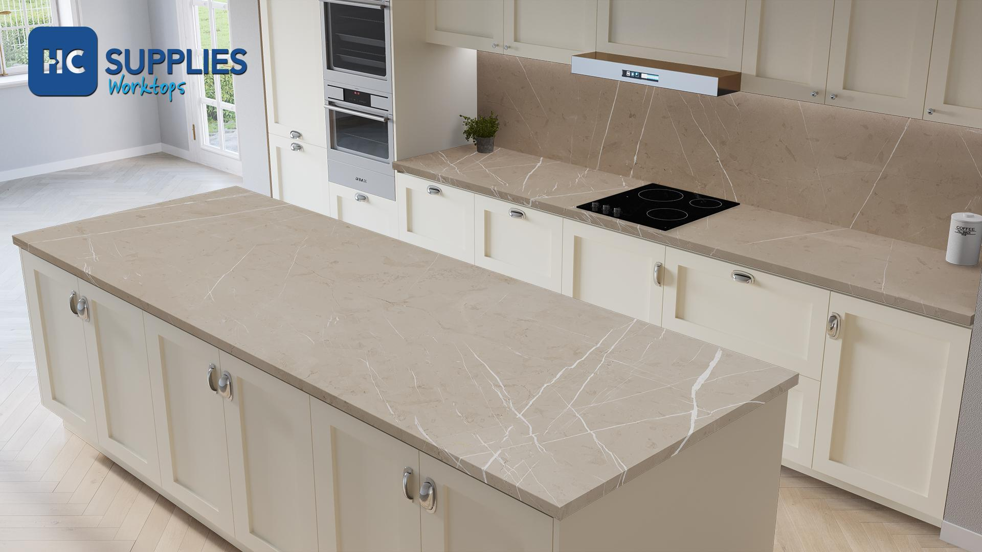 Kronodesign Beige Pietra Marble Super Matt Laminated Worktop