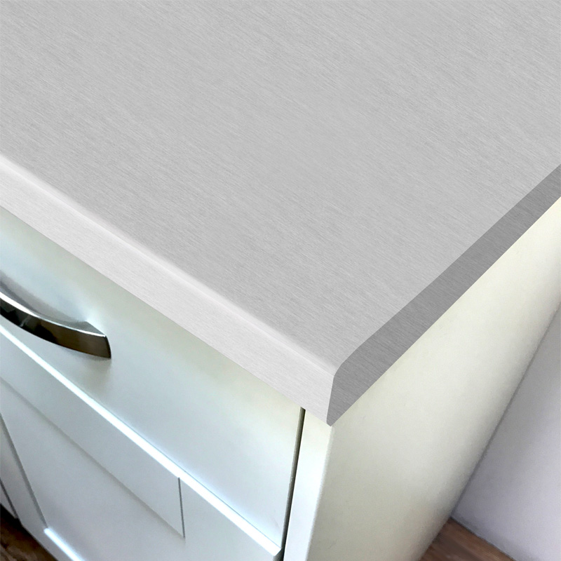 Duropal Brushed Aluminium Top Velvet Laminate Kitchen Worktops