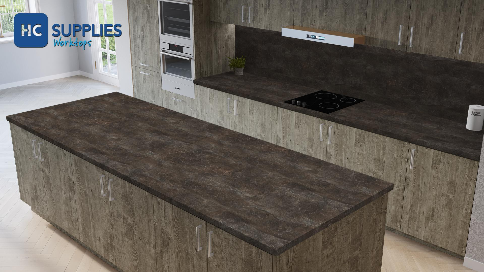 Kronodesign Dark Atelier Used Effect Laminated Worktop
