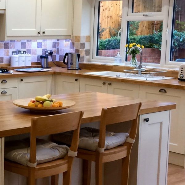 White Kitchen Units With Oak Worktop: 900mm Wide Worktops