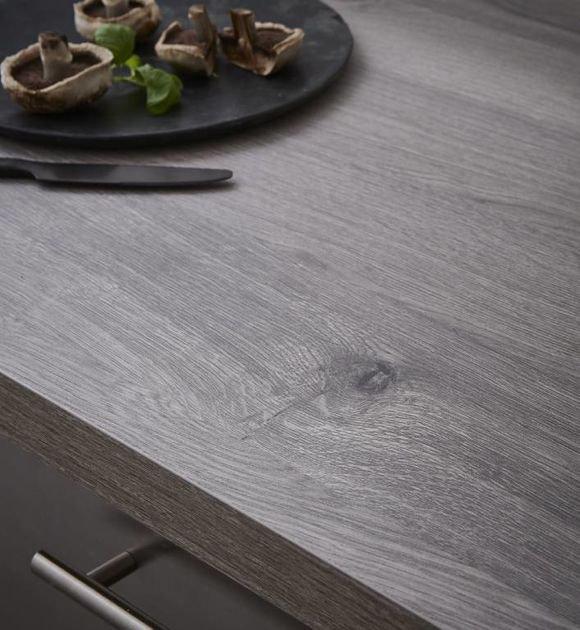 Square-Top Grey Longbarr Oak Laminate Breakfast Bars