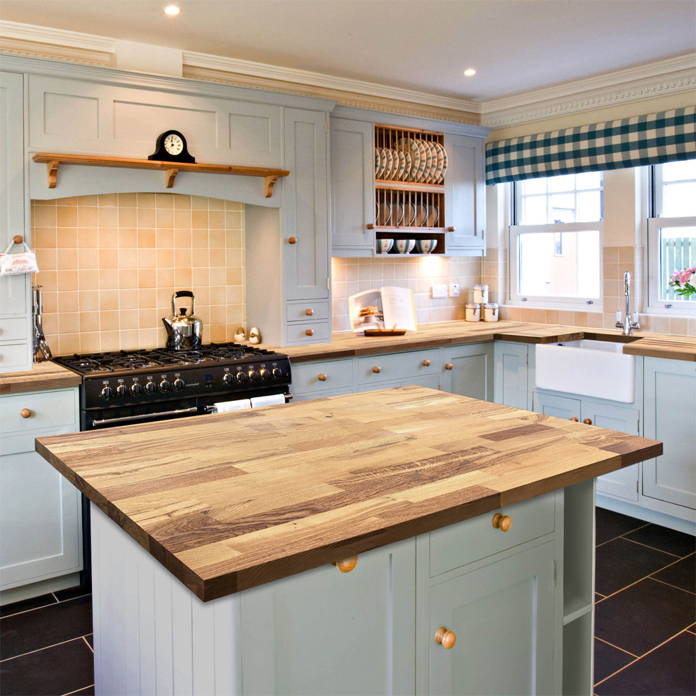 Solid Wood Farmhouse Oak  Stave Worktops Product Image