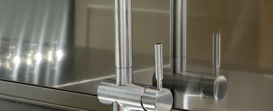 Brushed Steel Kitchen Taps