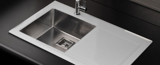 White Glass Kitchen Sinks